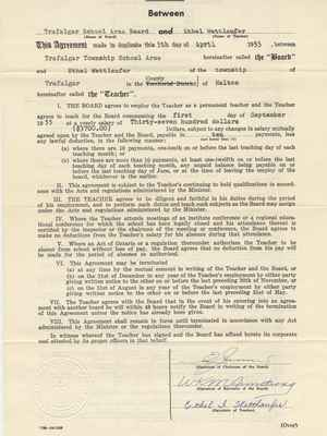 Teaching Contract Between Ethel Wettlaufer and the Trafalgar School Area, 1955