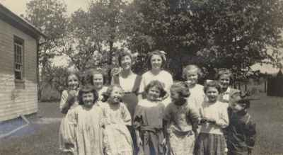 """Students At The """"Old"""" School House, Possibly S.S. #10"""