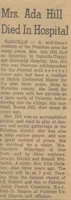 Obituary of Mrs. Ada Hill