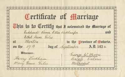 Image result for marriage certificate ontario