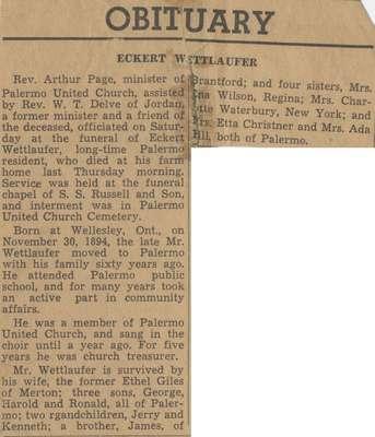 Obituary for Eckhardt Wettlaufer