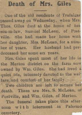 Death of Mrs. Giles