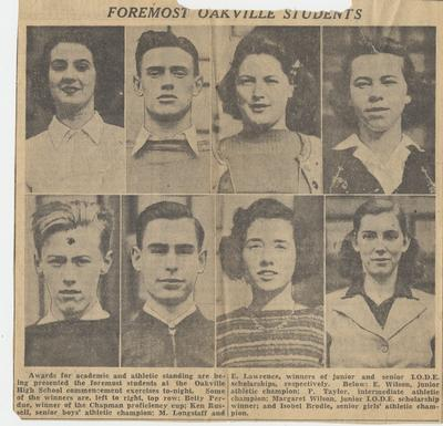 Oakville Trafalgar High School Academic & Athletic Award Winners, circa 1937