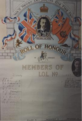 Loyal Orange Lodge Hornby No. 165  War Memorial List 1914-1918, 1949