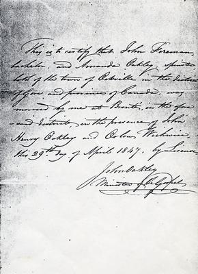 Marriage Certificate of Amanda Oakley and John A. Foreman, Jr., 1847.