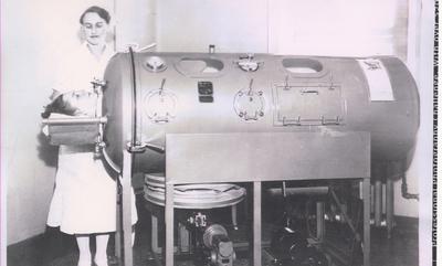 Dorothy (Pickett) Hayward In Iron Lung, 1937.