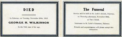 Memoriam Card for George H. Wilkinson