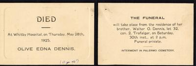 Invitation to the Funeral of Olive Edna Dennis 1925 Trafalgar – Invitation to a Funeral