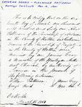 Catherine Dennis & Alexander Patterson Marriage Certificate, Mar 16, 1861.
