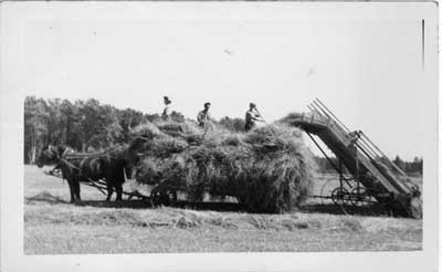 Three Men on a Haying Wagon and a Hay loader, Thessalon area, circa 1920