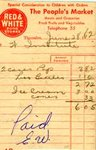 Receipt from The People`s Market, Nesterville, 1962