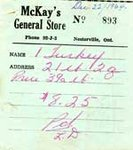 Receipt from McKay`s General Store, 1964