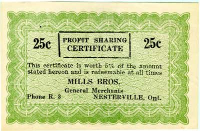 Receipt from Mills Brothers General Merchants, circa 1963