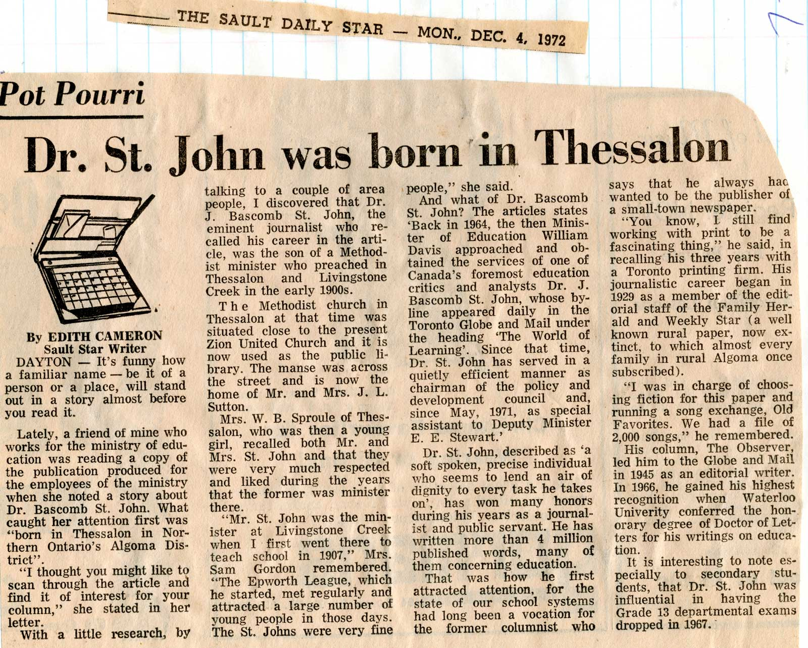 DrSt John was born in Thessalon Sault Star Clipping 1972 A – Sault Star Birth Announcements