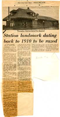 """""""Station Landmark Dating Back to 1910 to be Razed"""", Sault Star Clipping, 1971"""