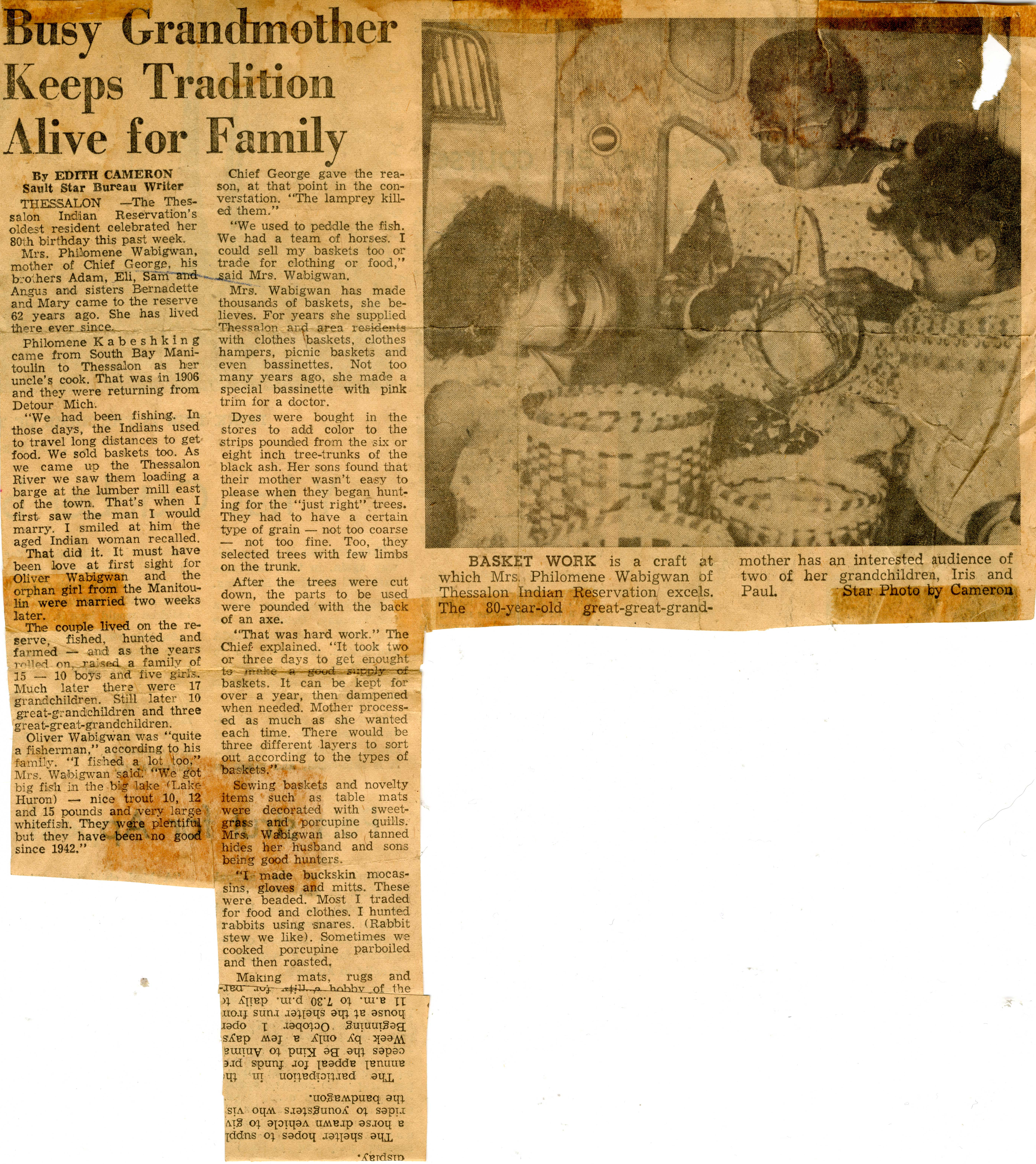 """""""Busy Grandmother Keeps Tradition Alive"""", Sault Star Clipping, circa 1970"""