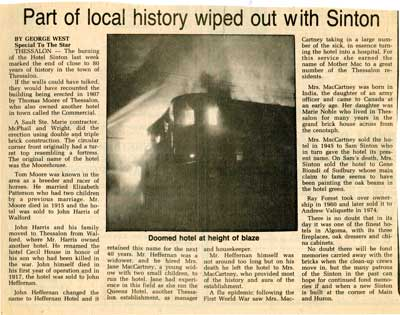 """""""Part of local history wiped out with Sinton"""", Sault Star Clipping, 1985"""