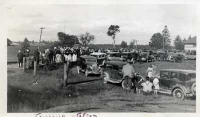 Cars at Thessalon Rail Road Station, circa 1945