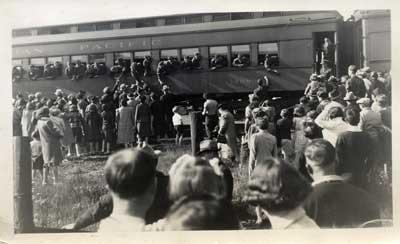 Soldiers Shipping Out, Thessalon Train Station, circa 1940