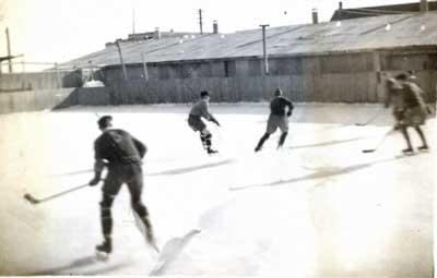 Hockey at the Thessalon Outdoor Arena, circa 1938