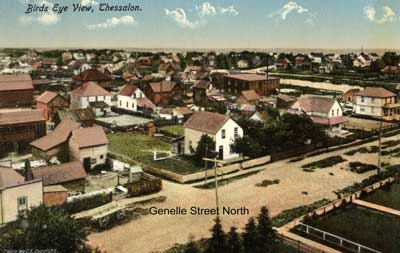 Birds Eye View of Genelle Street West, Thessalon, circa 1910