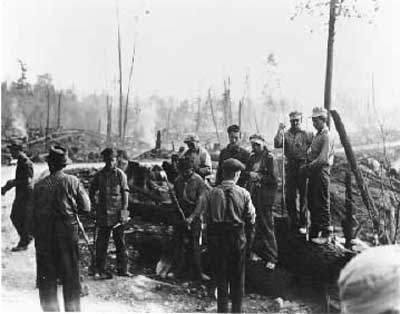 Group of Men at Forest Fire, circa 1948 (14/14)