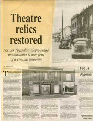 """Theatre Relics Restored"", Sault Star Clipping, 2003"