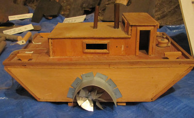 Hand Crafted Wood and Metal Model of Alligator, Steam Warping Tug (Created by Joe Sarazin)