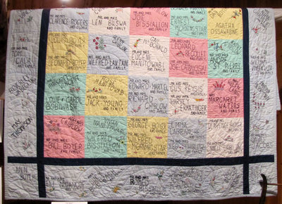 Hand Quilted Name Quilt (From Mississauga First Nation)to Dr. Frank Hammil.