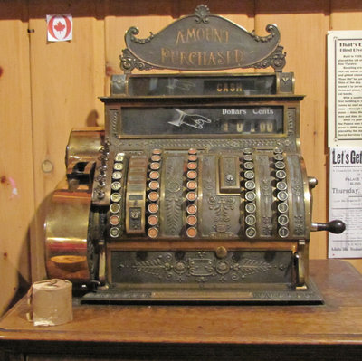 Cash Register Mounted on Cabinet from Palace Theatre, Blind River