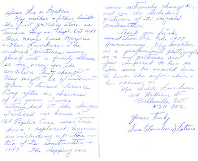 Letter Concerning First Grocery Store in Terrace Bay