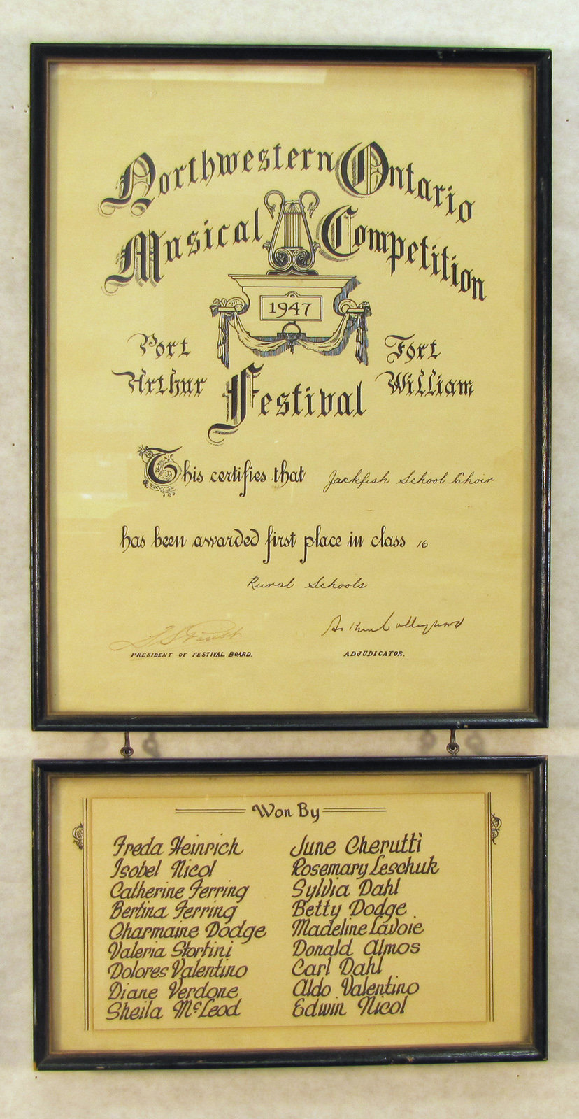 1947 Award Certificate to Jackfish School Choir for Musical Competition