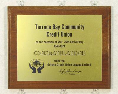 Terrace Bay Credit Union Plaque