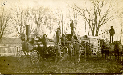 Stationary Steam Engine & Workers