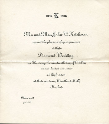 Mr and Mrs John V Ketcheson's Diamond Anniversary Invitation