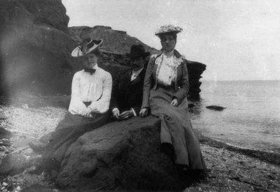 Lucy Maud Montgomery, Kate MacNeill & boyfriend, ca.1890's.  Cavendish, P.E.I.