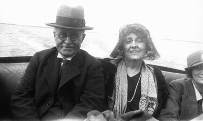 Lucy Maud Montgomery and Ewan - boat excursion on Georgian Bay, ON. Aug. 23, 1930.