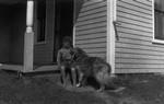 Stuart Macdonald with Mike the dog, age 7 3/4, ca.1923.  Cavendish, P.E.I.