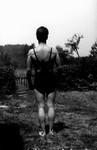Stuart Macdonald in bathing suit, age 19, ca.1934.  Norval, ON.