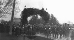 Arch for regiment march, ca.1916.  Leaskdale, ON.