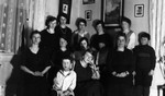 Guild Executive's Xmas gathering at Leaskdale Manse, including Chester & Stuart, ca.1920's.  Leaskdale, ON.