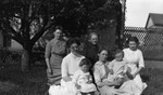 (Left foreground) Margaret Stirling with daughter Doris, others unidentified, ca.1913.  Leaskdale, ON.