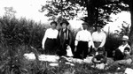 Roadside picnic on way to Bala, ON. - Lucy Maud Montgomery, Ewan, Stuart, Chester, Rev. Alonzo Smith & wife and friend (?), ca.1921.  Leaskdale, ON.