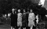 MacPherson group.  (L/R) Andy, Margaret, Kate, Charlotte, Bob, Florence, ca.1935.  Norval, ON.