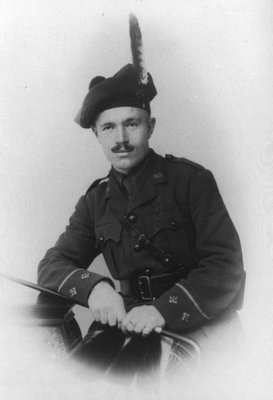 Lieutenant Cameron McFarlane.  (Husband of Frede). Wearing uniform from The New Brunswick Kilties, the 236th O.S. Battalion, C.E.F. MacLean Highlanders.