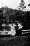 Three (unidentified) women admiring view at Bonshaw, ca.1890's.  Bonshaw, P.E.I.