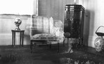 Parlor at Leaskdale Manse (with double exposure of Lucy Maud Montgomery and Mrs. Estey)