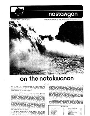 Nastawgan (Richmond Hill, ON: Wilderness Canoe Association), Fall 1985