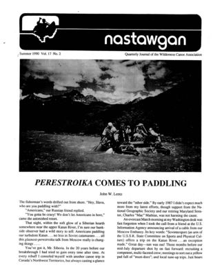 Nastawgan (Richmond Hill, ON: Wilderness Canoe Association), Summer 1990