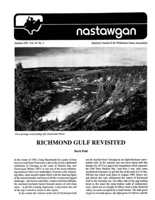 Nastawgan (Richmond Hill, ON: Wilderness Canoe Association), Fall 1991